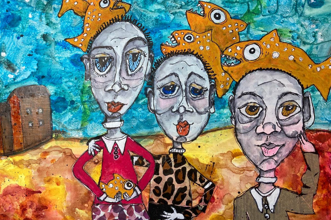 Fish People Acrylic Painting