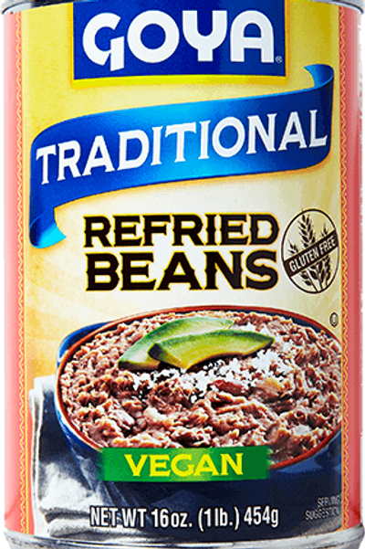 Goya Black Refried Beans (Vegan), 16 oz.