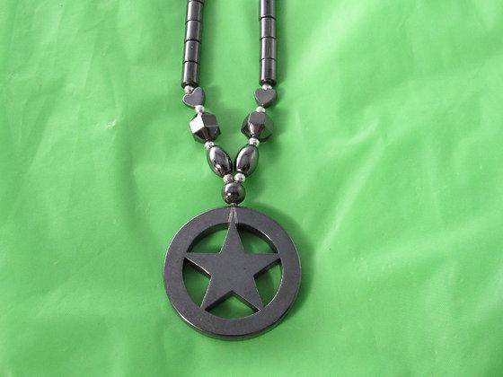 Large Hematite Pentacle/Star Necklace