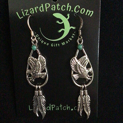 .925 Turquoise and Eagle Dangle Earrings