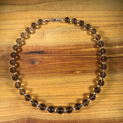 Smoky Quartz and .925 Sterling Silver Necklace