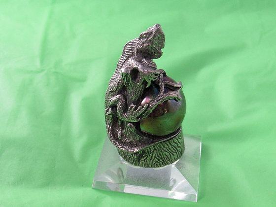 Pewter Iguana Figurine Wrapped Around Marble On Crystal