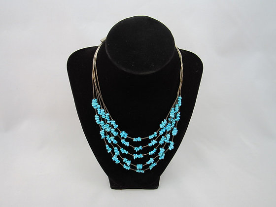 "Vintage Turquoise and ""Liquid"" Sterling Silver Necklace"