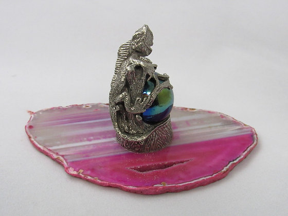 Pewter Iguana Figurine Wrapped Around Marble On Agate