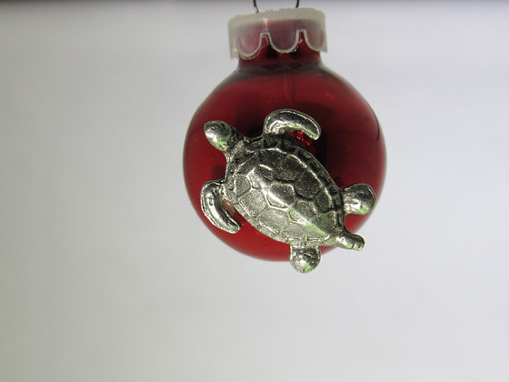 Tiny Pewter Sea Turtle Holiday Ornament