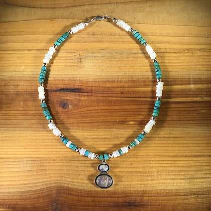 Moonstone, Turquoise and Sterling Silver Necklace