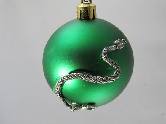 Pewter Snake Holiday Ornament