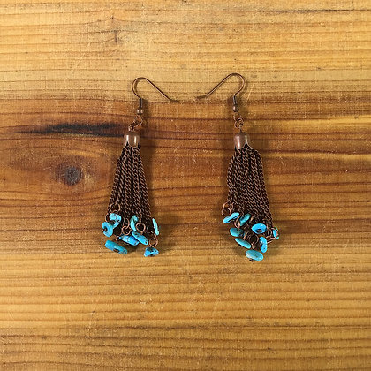 Turquoise and Antiqued Copper Dangle Earrings