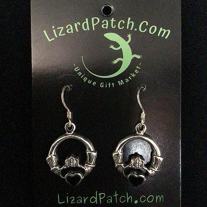 .925 and Onyx Claddagh Earrings