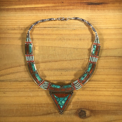 Nepalese Turquoise Chip Inlay Necklace