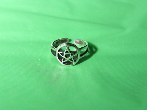 Sterling Silver Open Pentacle Toe Ring