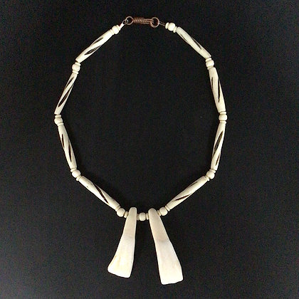 Buffalo Tooth and Bone Necklace