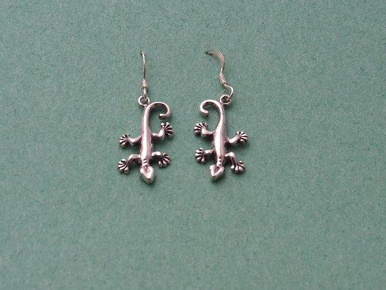 Sterling Silver Smaller Gecko/Lizard Dangle Earrings #2