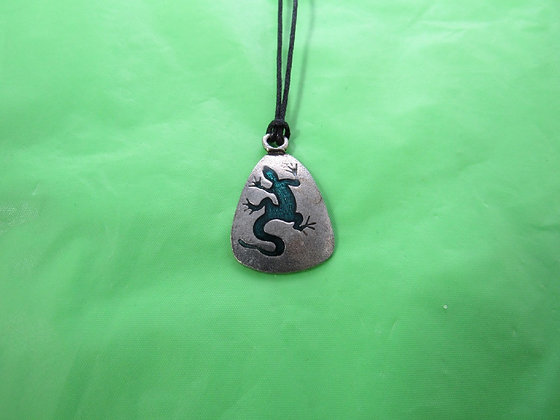 Pewter Triangular Epoxy Inlaid Lizard Necklace
