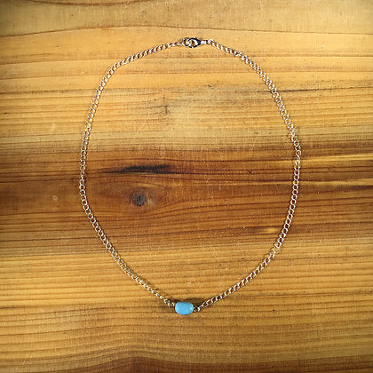 """18.5"""" Turquoise w/ Silver Plated Chain Necklace"""