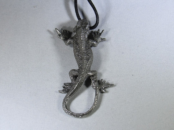 Large Pewter Iguana Pendant On Long Cord