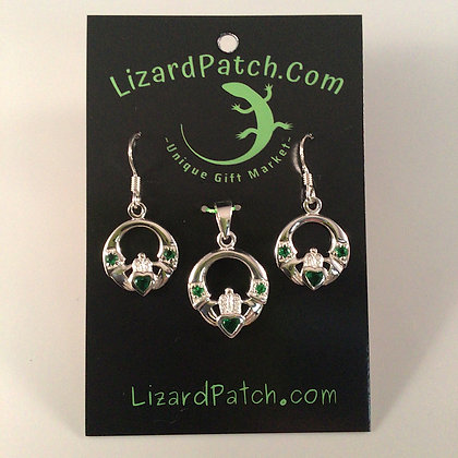 .925 Claddagh With Green Crystals Set