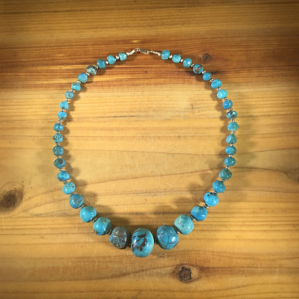 Large Genuine Turquoise Ball Necklace