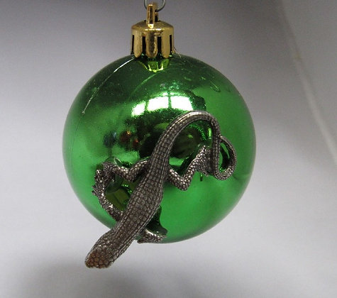 Pewter Lizard Holiday Ornament