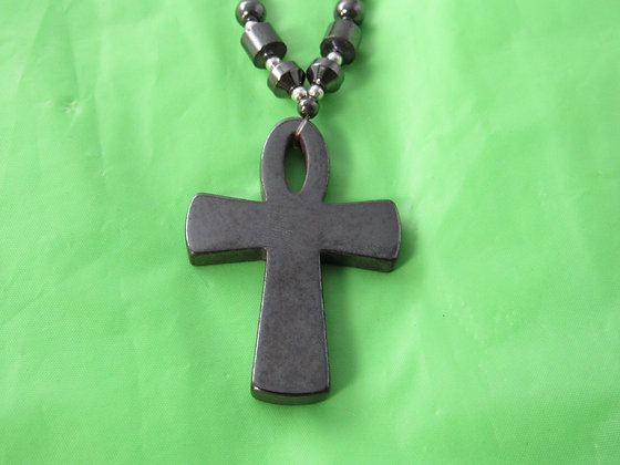 Large Hematite Open Ankh Necklace