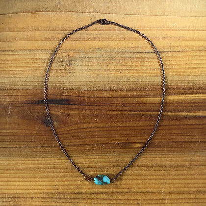 "16"" Turquoise and Antiqued Copper Necklace"