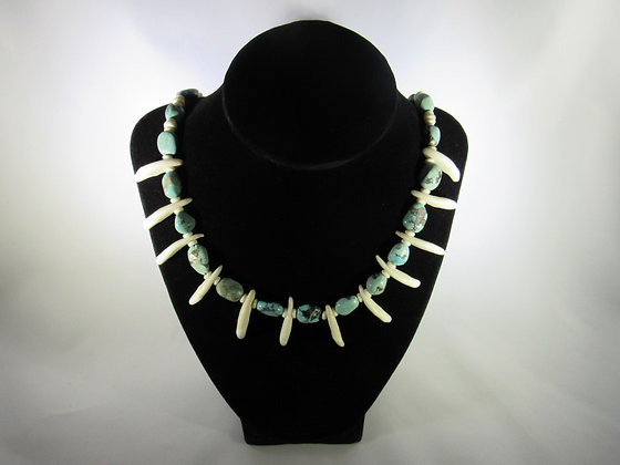 Turquoise, Coyote Tooth and Bone Bead Necklace