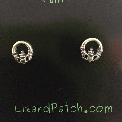 .925 Celtic Claddagh Stud Earrings