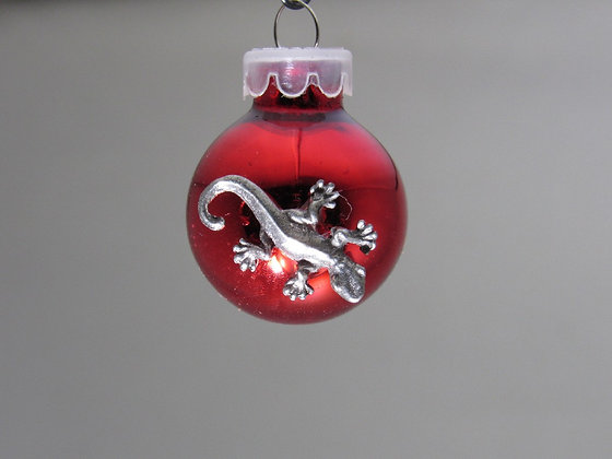 Tiny Pewter Lizard Holiday Ornament