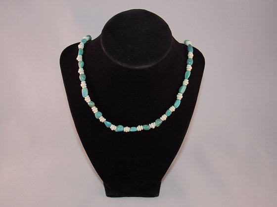 Turquoise and Bone Bead Necklace