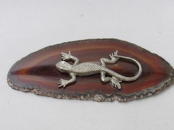 """Pewter Lizard 2 1/2"""" Figurine On Agate Slab"""
