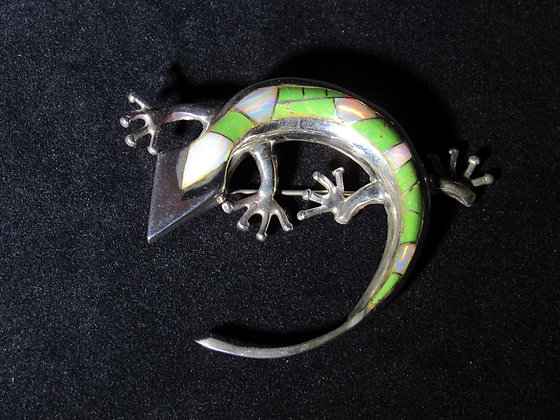 Large Sterling Silver Curved Stone Inlay Pin/Pendant