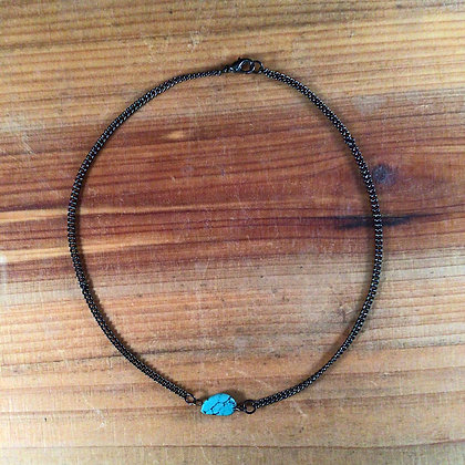 "16"" Turquoise and Gunmetal Necklace"