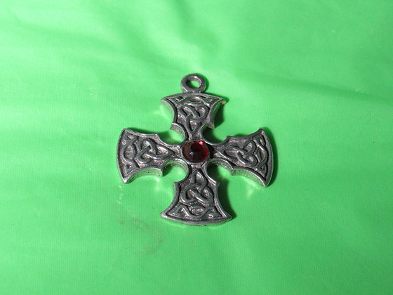 Celtic Pewter Cross Pendant w/Red Stone