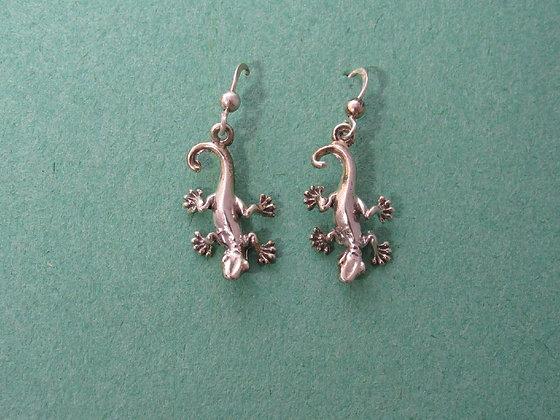 Sterling Silver Small Gecko/Lizard Dangle Earrings
