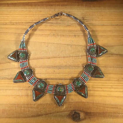 NepaleseTurquoise/Coral Necklace