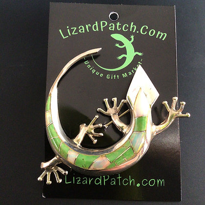 .925 Large Opal and Green Turquoise Lizard Pin/Pendant