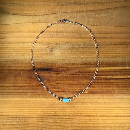 """16.5"""" Turquoise w/ Silver Plated Chain Necklace"""
