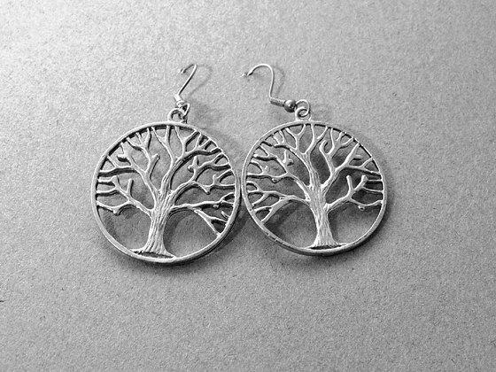Pewter Tree Of Life Earrings