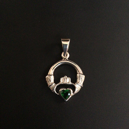 .925 Celtic Claddagh and Green Crystal Pendant