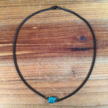 "18"" Turquoise and Gunmetal Necklace"