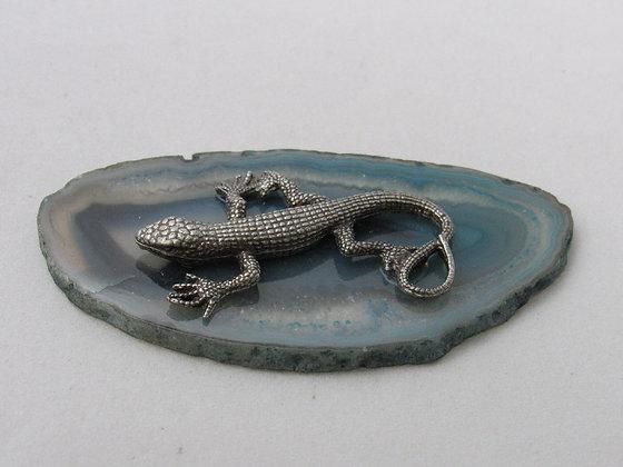 """Pewter Lizard 2""""Figurine On Agate Slab"""