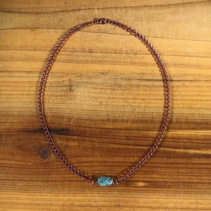 "15.25"" Turquoise and Copper Necklace"