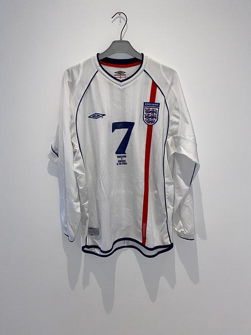 Beckham England Home Shirt 2001