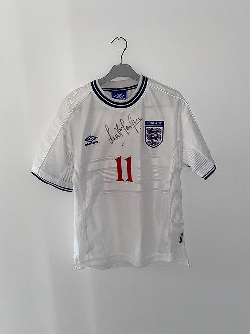 Signed Steve McManaman England Home Shirt 2000