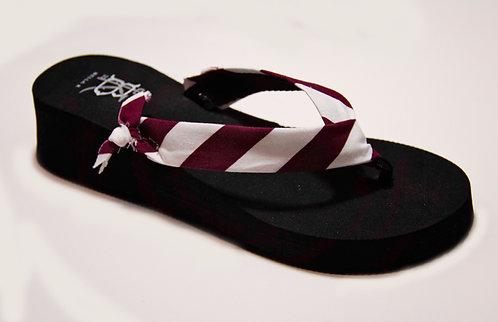MADALYN (Oxford Stripe) Garnet/White