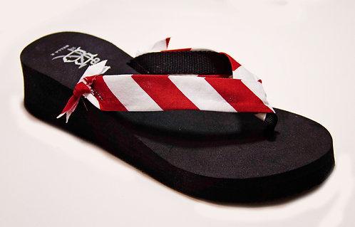 MADALYN (Oxford Stripe) Crimson Red/White
