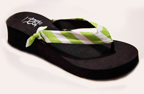 AVA (Stripe) Lime Green/White