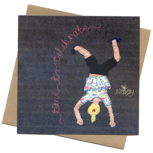 'Time To Celebrate' Textile Art Greeting Card