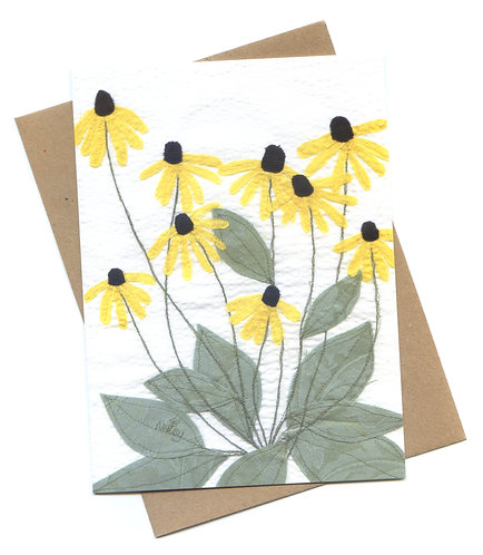 'Rudbeckia' Floral Embroidered Greeting Card
