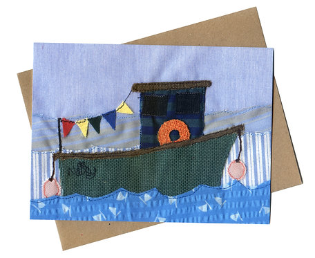 'The Old Fishing Boat' Textile Art Card
